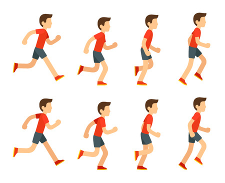 Running man set. 8 frame loop. Flat cartoon style vector illustration. Çizim