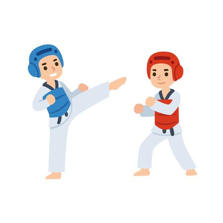 Taekwondo kids fighting in uniform. Martial arts illustration.