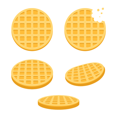 biscuit: Belgium round waffles illustration set. Flat vector style cartoon icons, different angles.