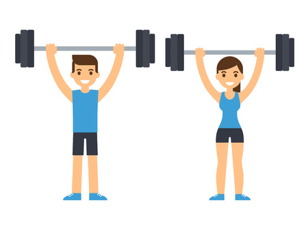 jerk: Man and woman bodybuilders lifting barbell over head. Weightlifting illustration. Flat style cartoon vector illustration. Illustration