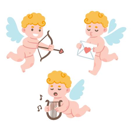 angeles bebe: estableció el Día de San Valentín Cupido de dibujos animados lindo. pequeño querubín adorable con el arco y la flecha y correo de amor. Ilustración divertida del vector.