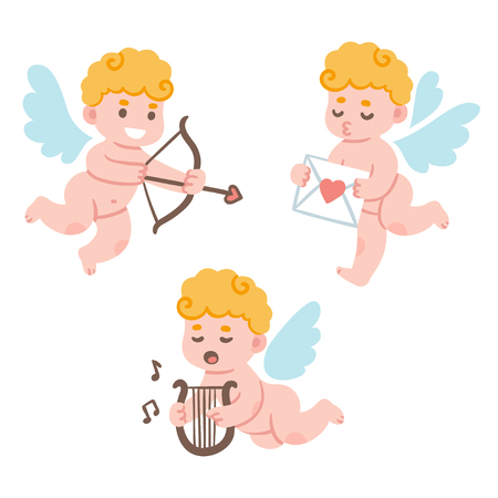 cherub: Valentines Day cute cartoon cupid set. Adorable little cherub with bow and arrow and love mail. Funny vector illustration. Illustration