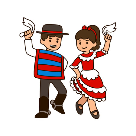 Cute cartoon children dancing Cueca, traditional dance in Chile. Boy and girl in national costumes with white handkerchiefs.