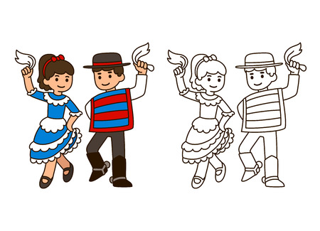fiestas: Cartoon children dancing Cueca, traditional dance in Chile. Boy and girl couple in national costumes. Outline for coloring book illustration.