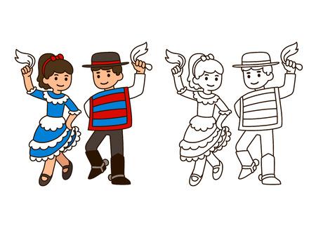 niños de dibujos animados que bailan la cueca, la danza tradicional en Chile. Niño y niña pareja en trajes nacionales. Modelo para la ilustración de libros para colorear.