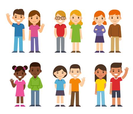 かわいい漫画の多様な子供、男の子と女の子のセットです。単純なフラット ベクトル スタイル。  イラスト・ベクター素材