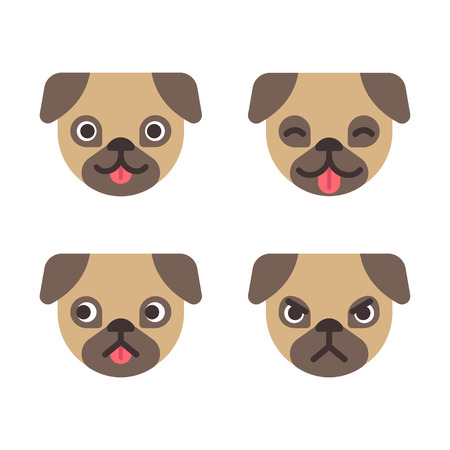 stick out: Cartoon pug faces set. Adorable little dog with different emotions. Cute flat vector illustration.