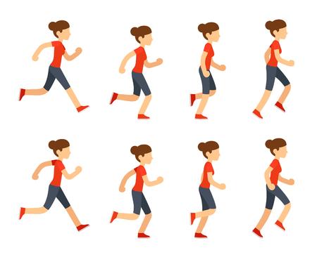女性を実行するを設定します。8 フレームのループ。フラット漫画スタイルのベクトル イラスト。