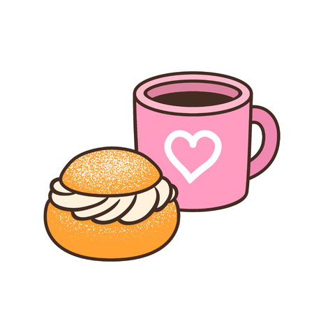 Cup of coffee or tea and semla (swedish whipped cream bun). Isolated hand drawn vector illustration of cute breakfast food. 矢量图像