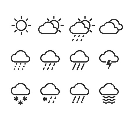 drizzle: Weather icons set. 12 isolated line icons with clouds, skies and precipitations. Illustration