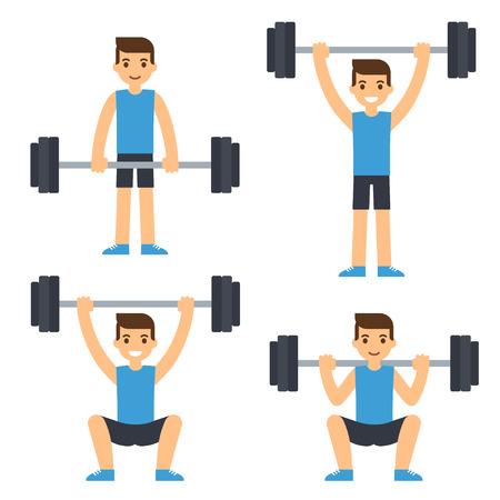 ejercicios con barra de dibujos animados hombre: sentadilla, peso muerto, press de hombros. Levantamiento de pesas ilustración. el vector de estilo moderno plano. Ilustración de vector