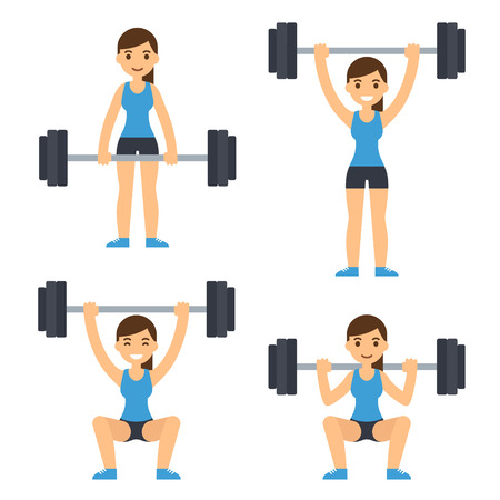 Cartoon woman barbell training. Weight lifting exercises: squat, deadlift, overhead press. Flat vector style fitness illustration.