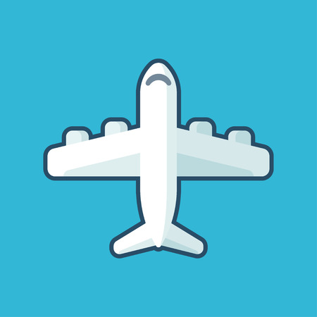 Vector airplane icon in flat cartoon style. Stylized plane illustration on blue background. Illustration