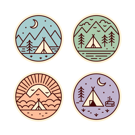 locations: Camping badges set. Tourist tent in different locations. Vector geometric icons in vintage colors. Illustration