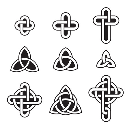 trinity: Celtic ornament set. Traditional knots, triangles and crosses. Vector design elements