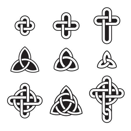 triquetra: Celtic ornament set. Traditional knots, triangles and crosses. Vector design elements