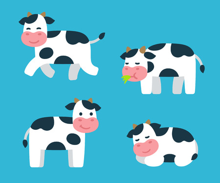 Cute cartoon isolated cow illustrations set. Standing, running, sleeping and eating grass. Adorable vector art. Vettoriali