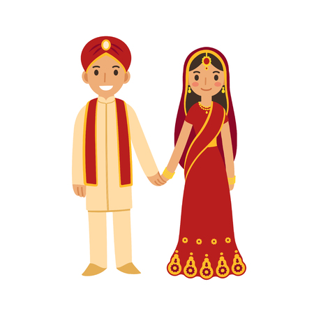 Indian wedding couple in traditional dress holding hands and smiling. Cute cartoon vector illustration.