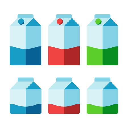 caja de leche: cartones de leche conjunto aislado sobre fondo blanco. Diferentes colores para el conjunto de bajo contenido de grasa, y la leche desnatada. Ilustración del vector.