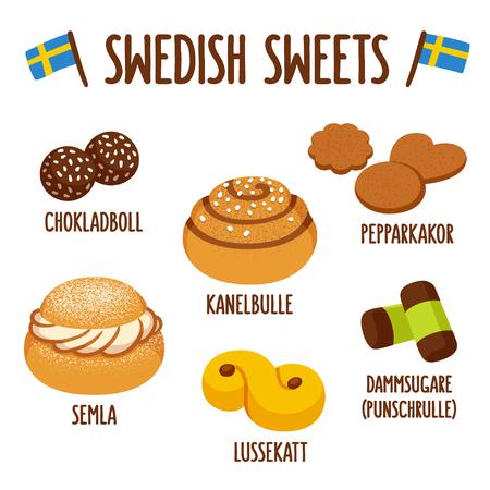 bollos: dulces suecos tradicionales. Chokladboll (bolas de chocolate) Kanelbulle (rollo de canela), Pepparkakor (galletas de jengibre), Semla (bollo de crema batida), Lussekatt (lussekatt) y dammsugare (rollo punzón). Vectores