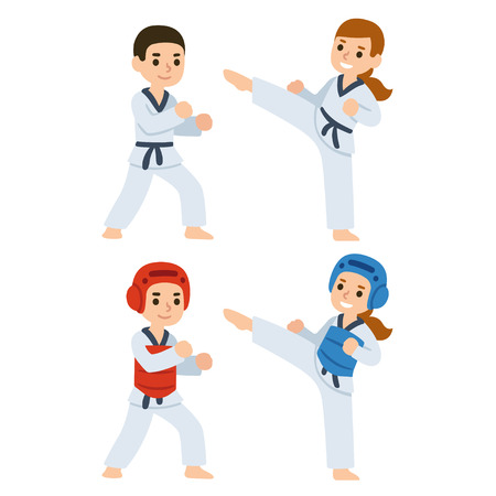 Boy and girl fighting in kimonos and taekwondo uniform. Martial arts for kids illustration.