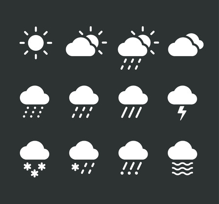 drizzle: Modern weather icons set. Flat vector icons on dark background. Illustration