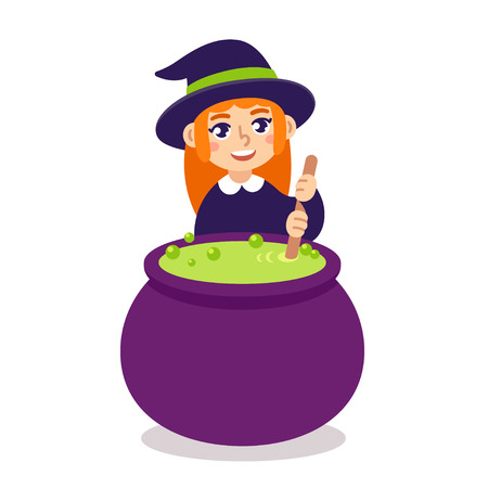 wizardry: Cute little witch brewing potion in cauldron. Cartoon Halloween illustration.