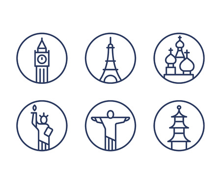 capital cities: Landmarks icons set, world capital cities symbols. Paris Eiffel tower, London Big Ben, New York Statue of liberty and more. Minimal outline vector style.