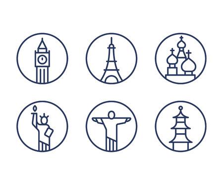 london big ben: Landmarks icons set, world capital cities symbols. Paris Eiffel tower, London Big Ben, New York Statue of liberty and more. Minimal outline vector style.