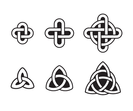 Celtic knots set, traditional ancient ornaments. Vector design elements