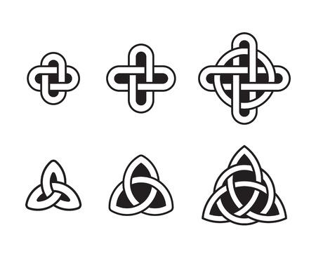 triquetra: Celtic knots set, traditional ancient ornaments. Vector design elements