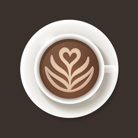 arte del latte taza de café vista superior. Ilustración del vector.
