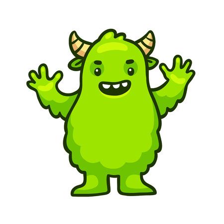 green cute: Cute cartoon green monster. Funny Halloween character