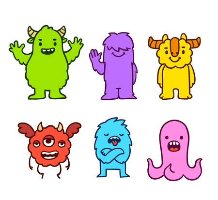 Cute cartoon funny monsters. Hand drawn characters vector illustration set. Illustration