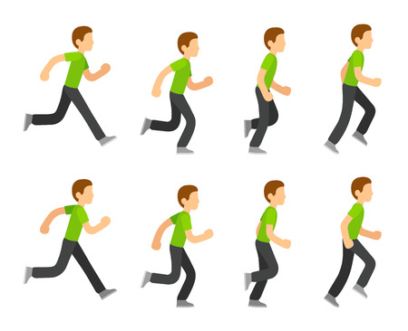 Running man animation 8 frame sequence. Flat cartoon style vector illustration. Stock Illustratie