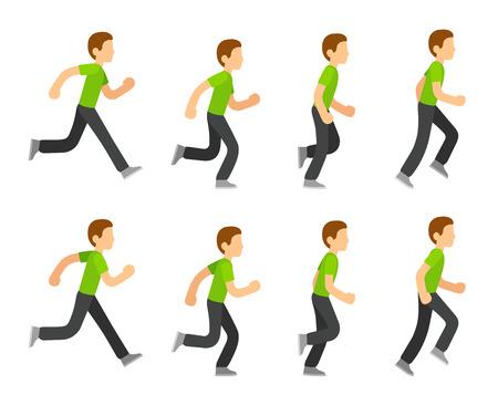 Running man animation 8 frame sequence. Flat cartoon style vector illustration. Illustration