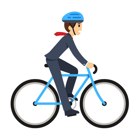 Young businessman riding a bicycle to work. Cute flat cartoon style vector illustration.