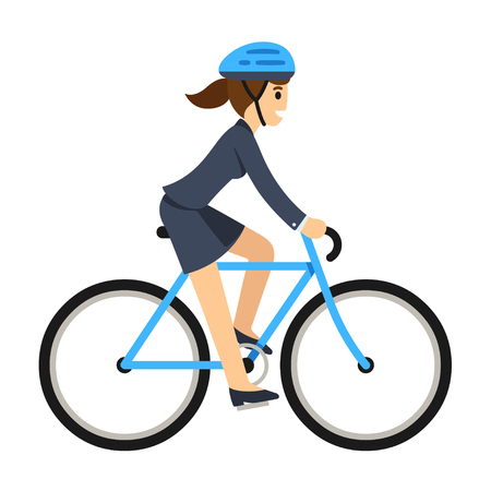 Young business woman riding a bicycle to work. Cute flat cartoon style vector illustration.