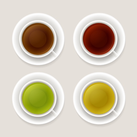 oolong: Tea types vector illustration. Black and red tea, green and yellow. Set of isolated cups, top view.