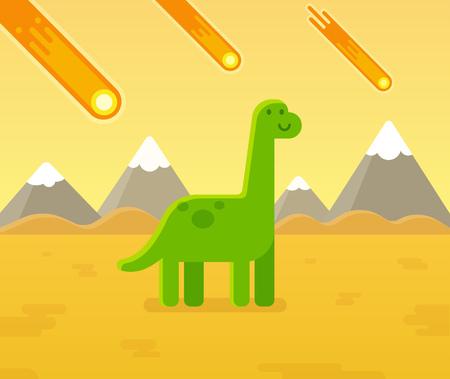 extinction: Cute cartoon dinosaur during asteroid strike. Prehistoric extinction event vector illustration.