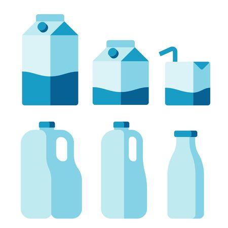 envases plasticos: Conjunto de iconos del recipiente de la leche. Las cajas de cartón, envases de plástico y botellas de vidrio. ilustración vectorial plana aislada.