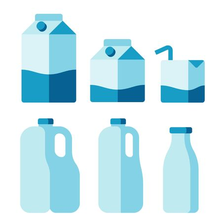 cartons: Set of milk container icons. Cartons, plastic jugs and glass bottle. Isolated flat vector illustration.