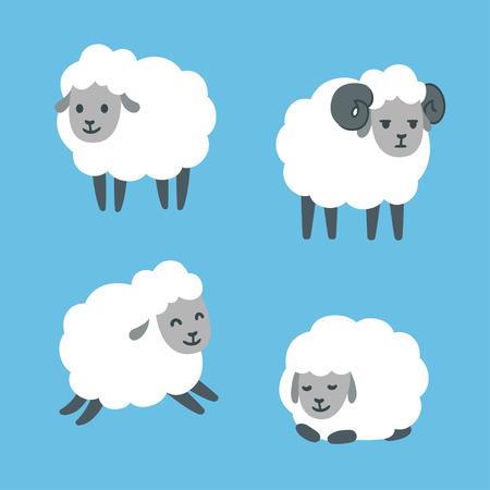 establece oveja linda de la historieta. De pie, saltando y mentir. carnero macho con cuernos. Ilustración del vector.
