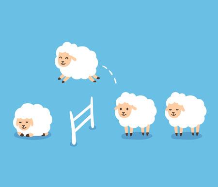 salto de valla: Counting sheep to fall asleep vector illustration. Cute cartoon sheep jumping over fence. Vectores