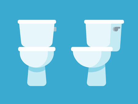 toilet bowl: Toilet bowl flat cartoon icon, front and side view.