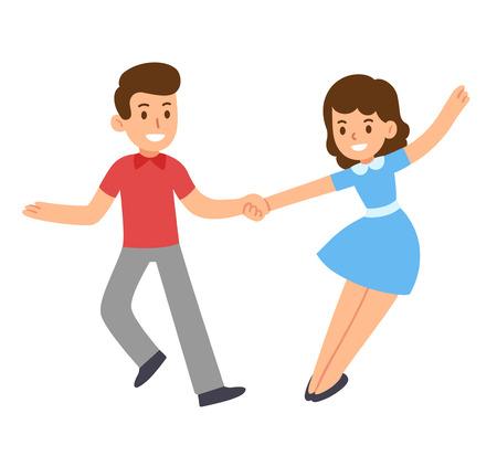 rockabilly: Cute cartoon retro dancing couple. Swing dance, Lindy hop. Vector illustration.