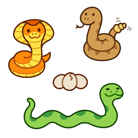 Cute cartoon snakes set. King Cobra, Rattlesnake and Python isolated illustration.