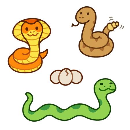 serpiente de cascabel: serpientes de dibujos animados lindo. Cobra real, serpiente de cascabel y aislada Python ilustración.