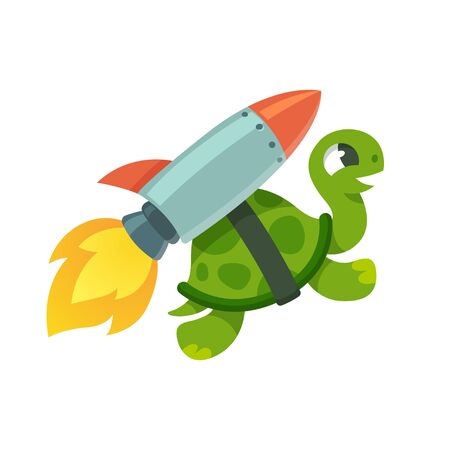 Cute cartoon turtle with rocket jetpack. Funny vector illustration.