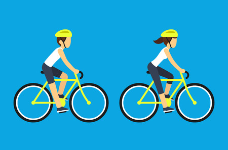 woman male: Male and female cyclists vector illustration. Man and woman riding sport bicycles, flat cartoon style. Illustration
